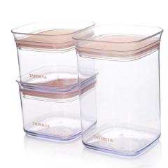多样屋珊瑚色密封储物罐三件套