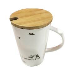 生态生活木盖陶瓷马克杯木盖